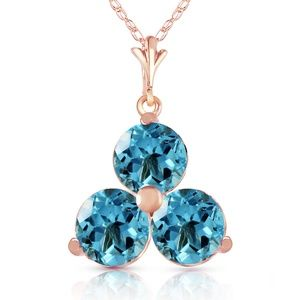 14K. SOLID GOLD NECKLACE WITH NATURAL BLUE TOPAZ